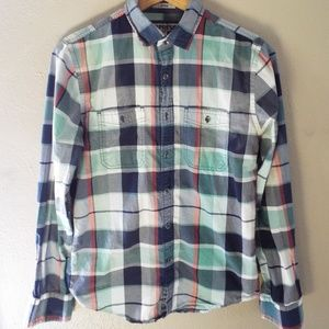 Express Plaid Fitted Long Sleeve Button Down